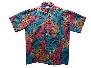 "Hawaiian Style Cotton Batik Shirt Vibrant Loud Shirt Stag Party chest max 44"""