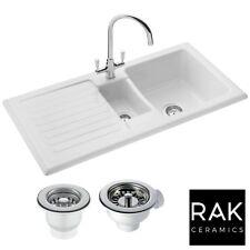 RAK Ceramics Rustic 1.5 Bowl Ceramic Reversible Kitchen Sink and Waste - White