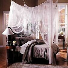 Deluxe Queen Size Box White Mosquito Net Four poster bed look Corner Canopy Bed