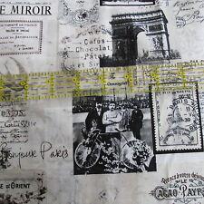 Scrapbook Collage cotton fabric April in Paris Eiffel Tower France half yard 1/2