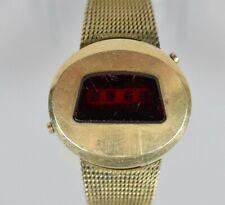 RARE Vintage JAEGER LeCoultre LED Gold Plated Men's Quartz Watch FOR REPAIR