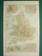 1920 MAP ~ ENGLAND & WALES ~ LIVERPOOL MANCHESTER ENVIRONS BIRMINGHAM LONDON
