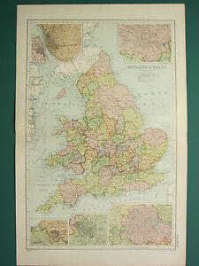 1920 MAP ~ ENGLAND & WALES ~ LIVERPOOL MANCHESTER ENVIRONS BIRMINGHAM LONDON