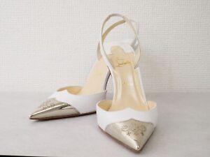 Christian Louboutin Strap Medallion Silver Pumps Sandals heel Mule Auth #4396K