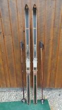 "VINTAGE Wooden  Skis 74"" Long with BLACK Finish Metal Bindings and Bamboo Poles"