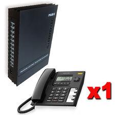 Kit Centralino telefonico analogico con 3/8 linee + 1 telefono manuale italiano