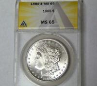 ANACS MS65 1885 Morgan Silver Dollar Gem Uncirculated Philadelphia Mint Dollar