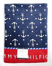 "Tommy Hilfiger Anchors red navy blue nautical pool beach bath towel 35"" x 66"""
