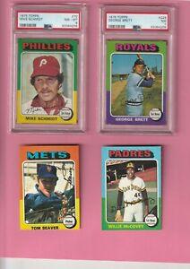 75 Topps Baseball, Complete Set, Nr Mt PSA Brett, Schmidt PLUS Unopened 75 Pack!