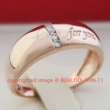 Real Genuine Solid 9K Rose Gold Engagement Wedding Rings Band Simulated Diamonds