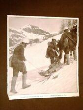 WW1 Prima Guerra mondiale 1914-1918 Artiglieria sulle Alpi traino cannoni slitte
