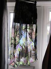 Bnwt £ 48 UK 10 TopShop Maxi Jupe motif fleuri noir sheer Dip Hem Mini Dress Up Party