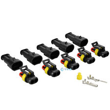 5 Kit Set Auto Waterproof Electrical Wire Connector Plug 2 Pin Way Terminals HID