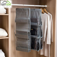 6 Pockets Hanging Closet Organizer Clear Foldable Handbag Purse Storage Bag 264