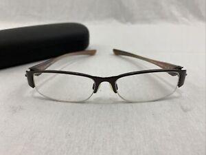 OAKLEY Treaty 4.0 Sable Titanium Half Rim Eyeglasses Brown 52-15-130 Frames Only