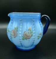 "Vtg Fenton Handpainted Blue Floral Jug / White Interior by C.Griffiths 5 1/2"" H"