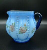 "Vtg Fenton Handpainted Blue Floral Jug / White Interior by C.Griffiths 5 1/2"" H"
