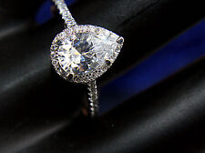 Certified 2.4CT Awesome Pear Shape Diamond 14KT White Gold With  Engagement Ring
