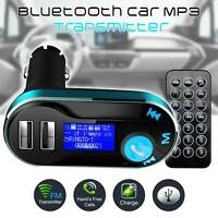 Car Bluetooth FM Transmitter Hands free Radio MP3 Player Adapter Kit USB Charger