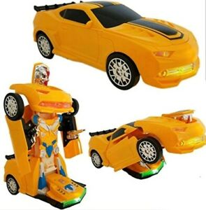 BUMBLEBEE YELLOW TRANSFORMERS ROBOT BUMP & GO CAR BOYS GIRLS TOYS LIGHTS SOUNDS