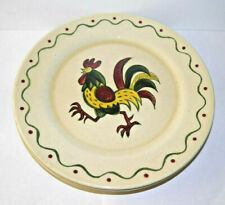 """Metlox Poppytrail Green Rooster 3 Dinner Plate Provincial California Pottery 10"""""""