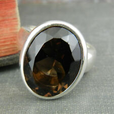 Joseph Esposito Espo Sig 925 Sterling Silver Oval Smoky Quartz Solitaire Ring