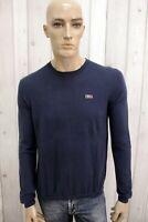NAPAPIJRI Uomo Taglia M Maglione Blu Lana Sweater Pullover Maglietta Man Maglia