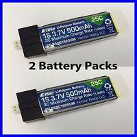 E-Flite Eflite 500mah 1S 3.7v 25C Lipo Battery UMX Glimpse EFLB5001S25UM x2