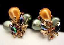"""Rare Vtg 1-1/2"""" Signed HAR Goldtone Popcorn Kernel AB Rhinestone Clip Earrings"""