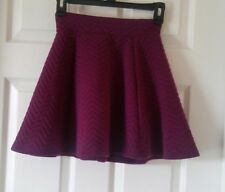 H&M Quilted Burgundy Skater Skirt with Zipper Size XS