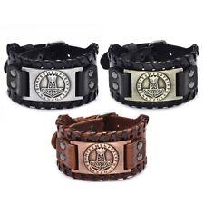 Herren Vintage Wikinger Leder Norse Metal Rune Design Armband Modeschmuck  2 @gr
