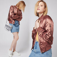 New Women Ladies Satin Bomber Jacket Vintage Summer Coat Flight Army Biker .