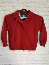 VTG WOOLRICH Womens Large Red 100% Wool Coat Jacket Zip Up