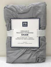 NEW Pottery Barn TEEN Organic Ruched Diamond STANDARD Sham ~ Light Gray