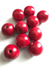 20 pcs 24mm Large Cherry Red Wood Beads Round Bead Jewelry Making Wooden Tool 6c