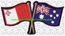 AUSTRALIA MALTA CROSSED FLAGS BIKER PATCH 100 X 55MM