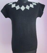VTG Ladies GLADYS BAGLEY PETITES Black/Silver Squares Shortsleeve Top Size Small