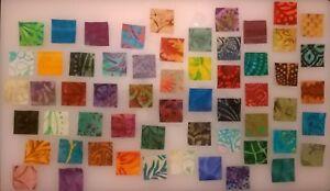 """100 x 1"""" Batik Squares fabric scraps Pack remnants patchwork bundles 100% cotton"""