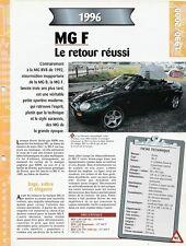 ROVER MG F 1996 - FICHE AUTO TECHNIQUE VOITURE VÉHICULE COLLECTION