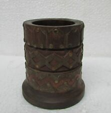 Vintage old Hand Carved Brass Fitted Wooden Brush Tools Wood Case Box Cup