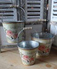 3 Nostalgische Zinkeimer Rosendekor **JARDIN **Dekoration Rosen Cottage Stil