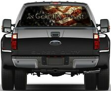 American Flag In God We Prairie Gold Stone Rear Window Graphic Decal  Truck
