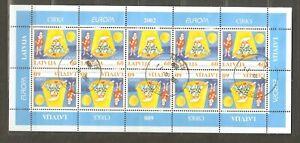 Latvia: used full sheet, EUROPA - circus, 2002, Mi#568