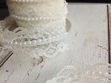 IVORY Bridal Lace And Pearl Ribbon. Ideal For Wedding Invitations/Decoration