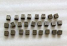 52PCS Antiqued bronze alphabet letter cube beads w/big hole #23485