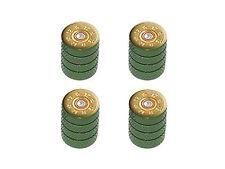 12 Gauge Bullet Shell (Image Only) Ammo Tire Rim Wheel Valve Stem Caps Green