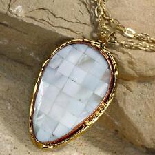 New Tara Mesa White Mother of Pearl Patchwork Pendant