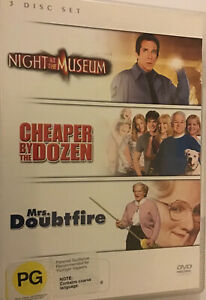 Night At The Museum / Cheaper By The Dozen / Mrs Doubtfire, DVD, R4, VGC/ GC!