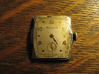 """Bulova Nice Vintage Men's Silver 1"""" X 1 1/8"""" Wrist Watch Parts or Project ASIS"""