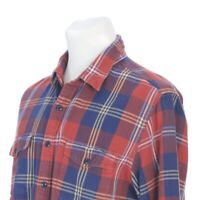J Crew Button Down Red Blue Yellow Plaid Flannel Outdoor Shirt Mens Large